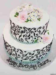 Floral 54 Elegant Scrollwork Birthday Cake