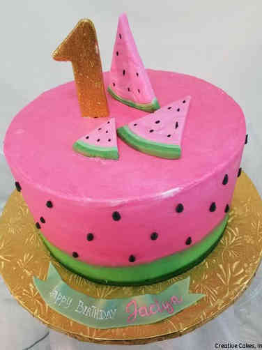 Neutral 15 Watermelon First Birthday Cake