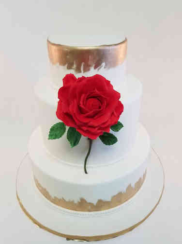 Floral 51 Single Red Rose Wedding Cake