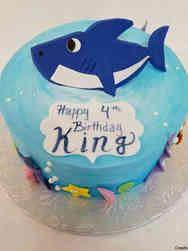 Animals 51 Flat Art Baby Shark Birthday Cake