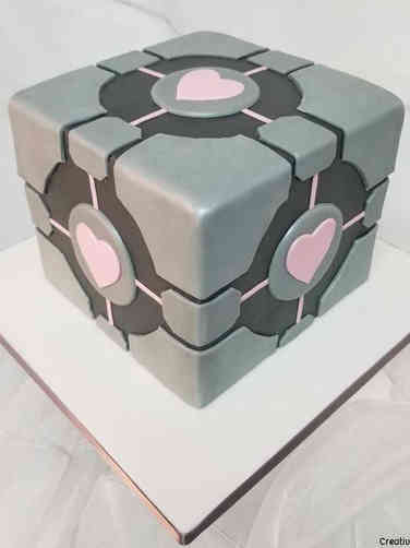 Sports 40 Portal Companion Cube Birthday Cake