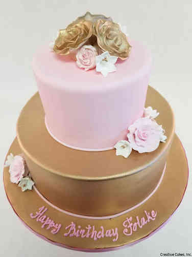 Floral 56 Pink and Gold Roses Birthday Cake