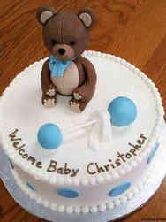 Boys 03 Teddy Bear and Rattle Baby Shower Cake