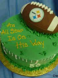 Boys 20 Football Fan Baby Shower Cake
