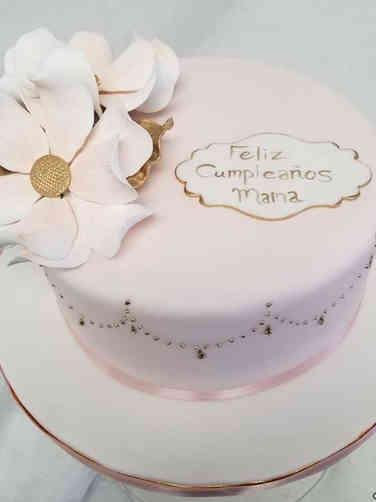 Floral 08 Delicate Pink Magnolias Birthday Cake