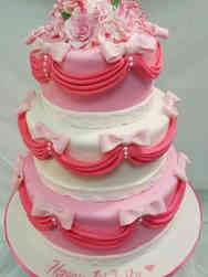 Girls 16 Drapes and Bows First Birthday Cake