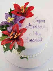 Floral 55 Vibrant Lillies Birthday Cake