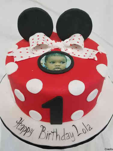 Neutral 08 Minnie Mouse Photo First Birthday Cake