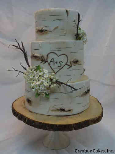 Trendy 18 Monogram Birch Wedding Cake