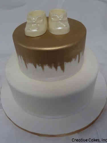 Neutral 43 Elegant Booties Baby Shower Cake