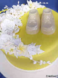 Neutral 01 Booties and Flowers Baby Shower Cake