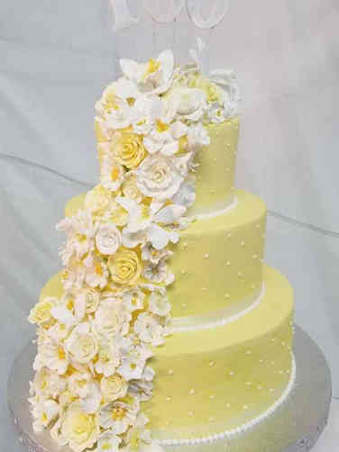 Floral 14 Yellow Flower Cascade 100th Birthday Cake