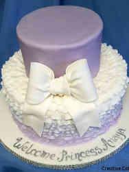 Girls 04 Lavender Ruffles Baby Shower Cake