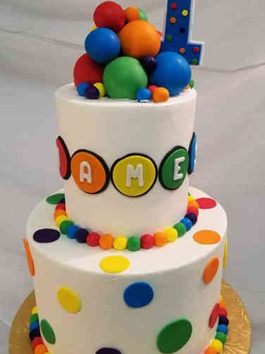 Neutral 19 Colorful Dots First Birthday Cake