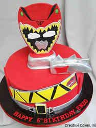 Superheroes 07 Red Dinosaur Power Ranger Birthday Cake
