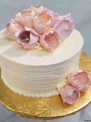 Simple 13 Pink Tulips Wedding Cake