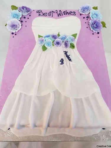 Dress 06 Lavender and White Dress Bridal Shower Sheet Cake