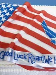 Military 19 Flag Drape and Air Force Emblem Military Retirement Cake