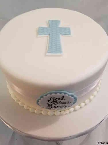 Baptism 14 Elegant Blue Cross Baptism Cake