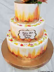 Floral 04 Sunset Watercolors Birthday Cake