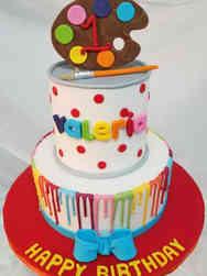 Neutral 14 Artist Pallate First Birthday Cake
