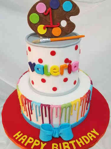 Neutral 14 Artist Pallate First Birthday Cake