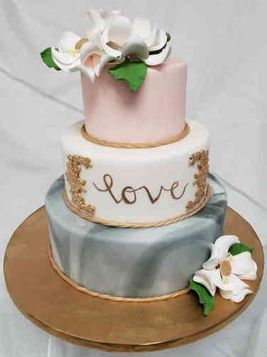 Trendy 04 Marble Love Wedding Cake