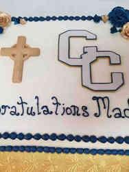 High School 07 Catholic School Logo High School Graduation Cake