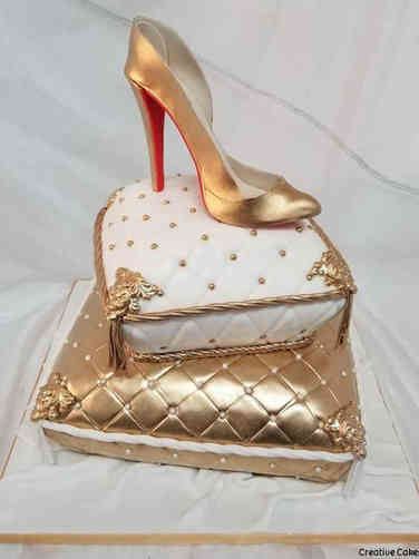 Fashion 19 Gold Pillow High Heel Birthday Cake