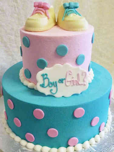 Reveal 02 Two Tier Baby Bootie Gender Reveal Cake