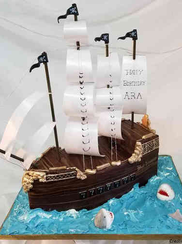 Unique 23 Pirate Ship and Sharks Birthday Cake
