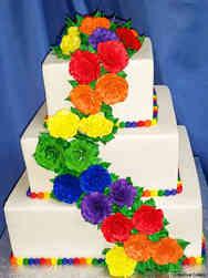Colorful 02 Rainbow Roses Wedding Cake