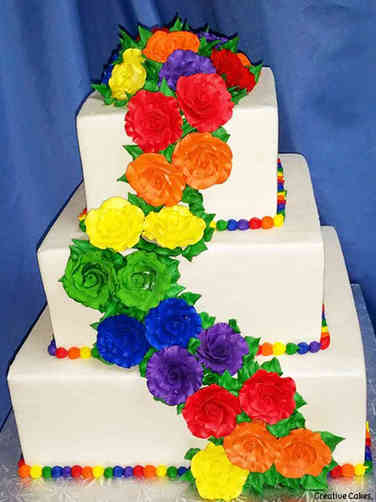 Colorful 02 Rainbow Roses Wedding Cake