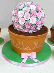 Floral 09 Pots of Flowers Bridal Shower Cake
