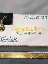 High School 33 Blue and Yellow High School Graduation Cake