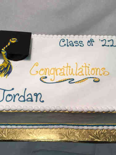High School 33 Blue and Yellow High School Graduation Cake