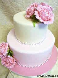 Floral 24 Pink Peonies Wedding Cake