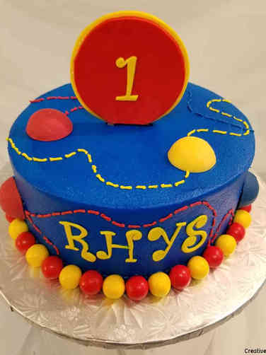 Boys 14 Bouncing Balls First Birthday Cake