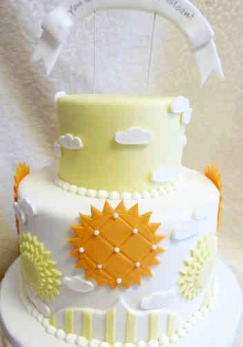 Neutral 32 Fancy Sunshine Baby Shower Cake