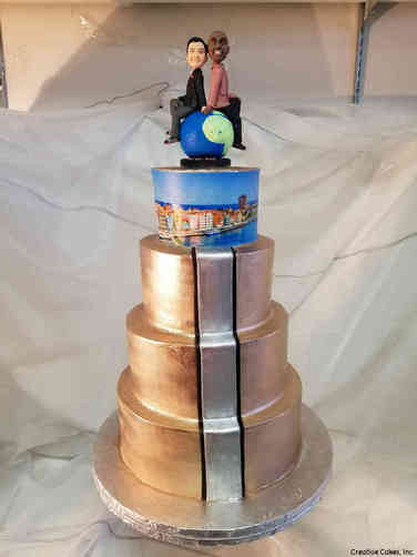 Trendy 26 Modern Metallic World Travel Wedding Cake