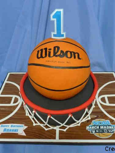 Boys 10 Basketball First Birthday Cake