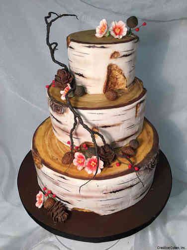 Trendy 21 Rustic Birch Logs Wedding Cake
