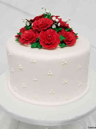 Floral 11 Swiss Dots and Roses Wedding Cake