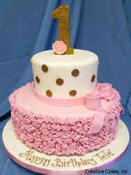 Girls 05 Ruffles and Polka Dots First Birthday Cake