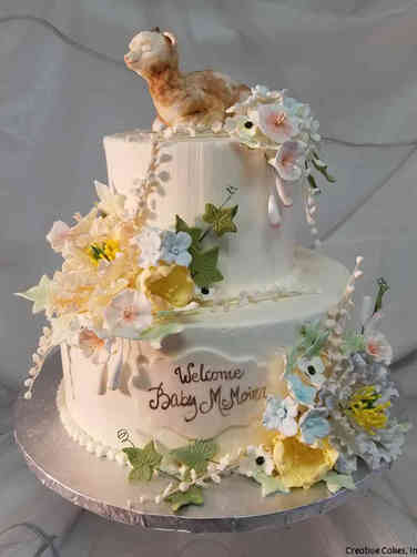 Neutral 50 Baby Goat and Spring Flowers Baby Shower Cake