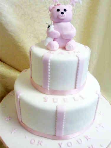 Baptism 10 Pink Teddy Bear Baptism Cake