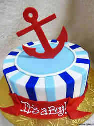 Boys 15 Anchors Aweigh Baby Shower Cake