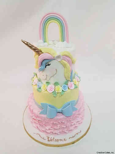 Girls 36 Sweet Unicorn Rainbow Baby Shower Cake