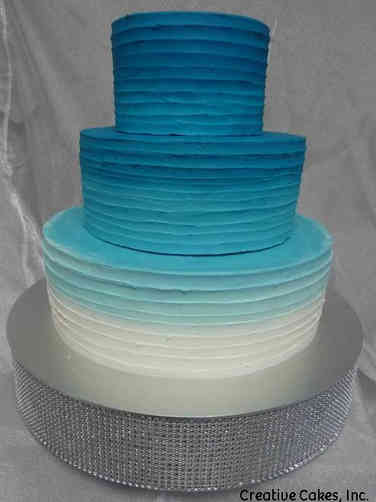 Colorful 10 Blue Ombre Wedding Cake