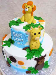 Neutral 25 Jungle Animals Baby Shower Cake